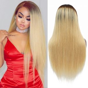 Today Only Hair Ombre 1b/27 Straight Lace Frontal Human Hair Wigs For Black Women 10A 8-26 Inch Virgin Hair Wigs