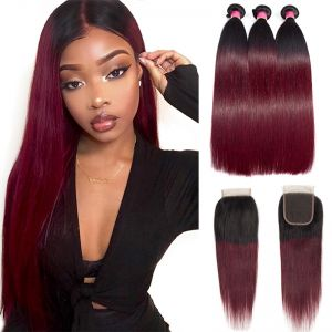 Today Only Hair Ombre 1B/99J Peruvian Straight Human Hair 3 Bundles With Lace Closure