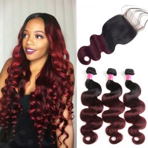 Today Only Hair 1B/99J Ombre Virgin Hair Body Wave 3 Bundles With Lace Closure Ombre Human Hair With Closure