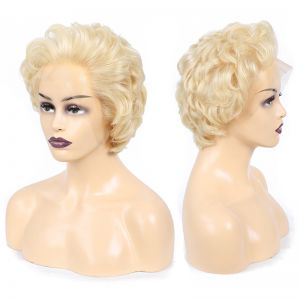 613 Honey Blonde Color Virgin Short Curly Lace Front Human Hair Wig Bob 13*4 Frontal Wigs