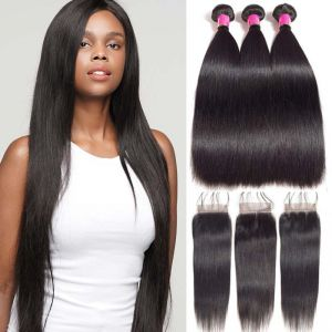 Today Only Hair Peruvian Virgin Hair Straight 3 Bundle Deals with 4*4 Lace Closure 100% Human Hair Extension