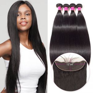 Today Only Hair Peruvian Straight Hair 4 Bundle Deals With 13 * 4 Ear To Ear Lace Frontal Peruvian Virgin Hair