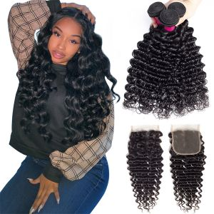 Today Only Hair Grade 10A Peruvian Deep Wave 3 Bundles With Lace Closure Unprocessed Virgin Hair Deep Weave With Closure