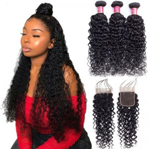Today Only Hair Brazilian Water Wave 3 Bundles With Lace Closure Brazilian Virgin Hair Water Weave With Closure