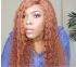 Ginger Orange Curly Lace Front Colored Remy Human Hair Wigs 180% Density Pre plucked Invisible Knots