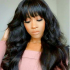 Todayonly Hair Glueless Wigs Body Wave With Bangs Virgin Human Hair 12-24 inch