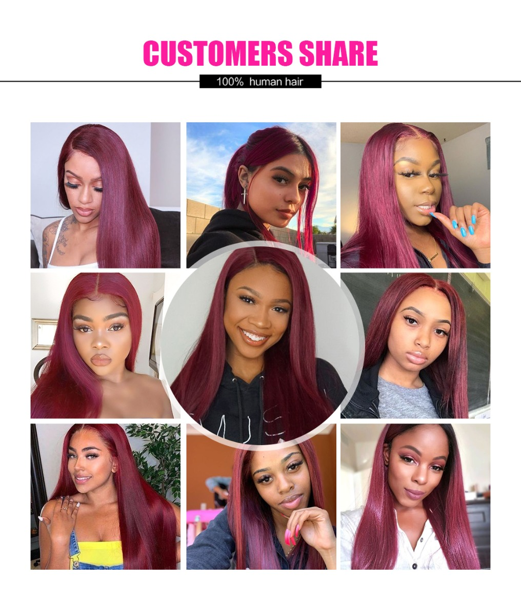 burgundy hair lace part wig