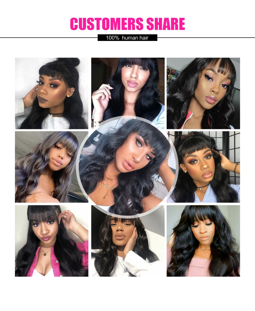 body wave with bangs wig