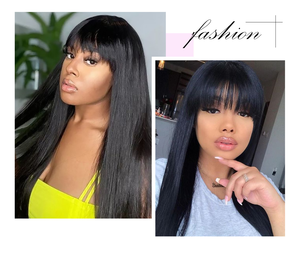 straight hair wig with bangs