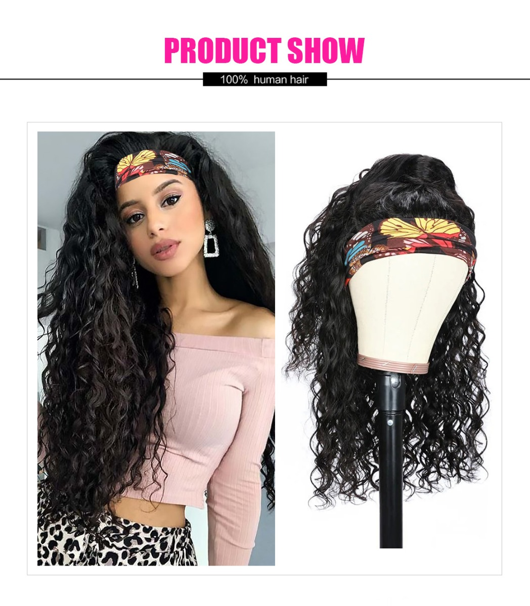 head band curly hair wig