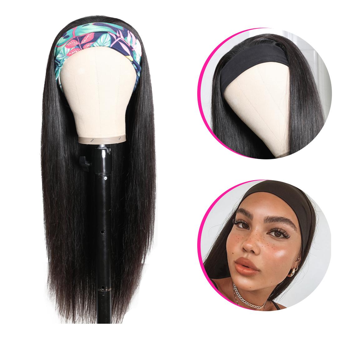 headband hair wig with no glue