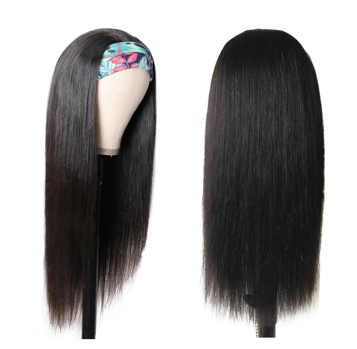 straight hair wig with glueless headband