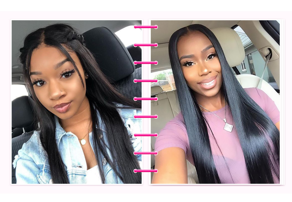 straight lace part wig
