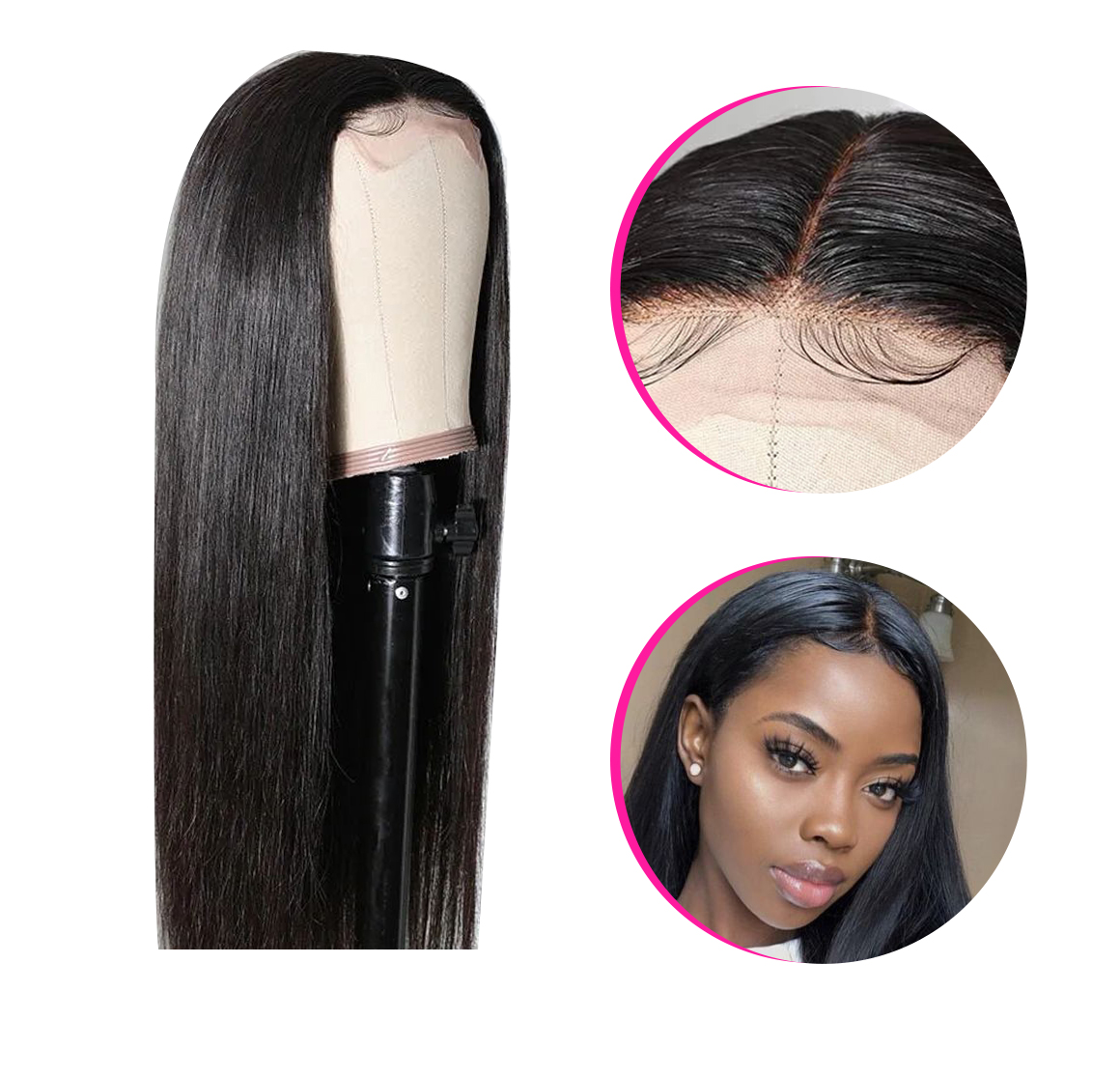 lace part straight hair